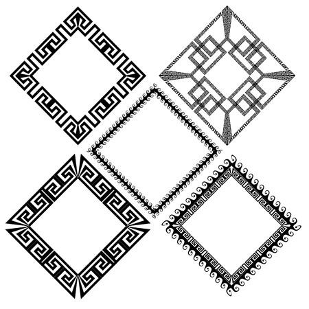 Rhombus greek key meander border frame patterns set. Vector black ornaments on white background. Isolated texture. Ornamental greek style design. Monochrome ancient frames, shapes, geometric elements Vettoriali
