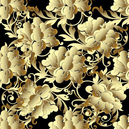 Baroque Gold 3d flowers seamless pattern. 向量圖像