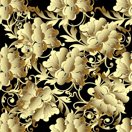 Baroque Gold 3d flowers seamless pattern. Illustration