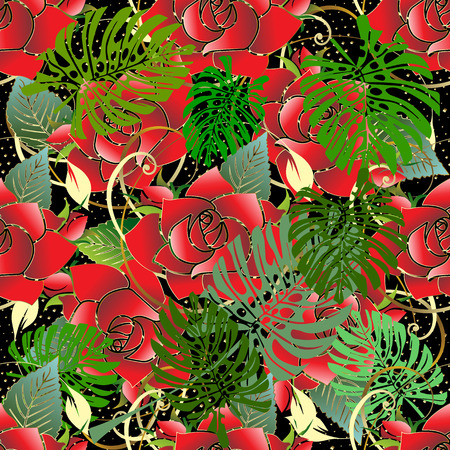 Red roses seamless pattern. Vector floral background