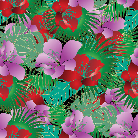 Exotic tropical flowers seamless pattern. Vector floral beautifu