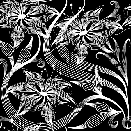 Elegance abstract flowers vector seamless pattern