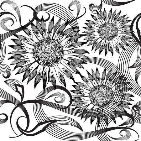 Modern abstract sunflowers vector seamless pattern.