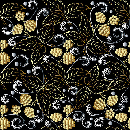 Gold 3d berries abstract  vector seamless pattern.