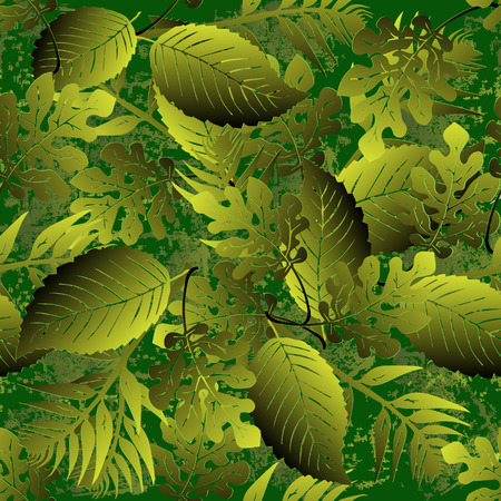 Grunge textured 3d leaves vector seamless pattern.