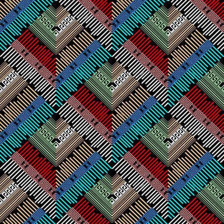 Striped greek geometric colorful seamless pattern. Illustration