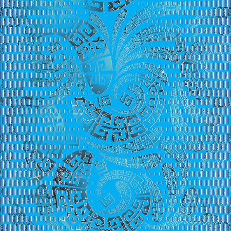 Grunge greek style floral paisley seamless vector pattern.