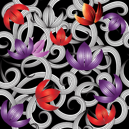 3d purple red flowers seamless pattern.