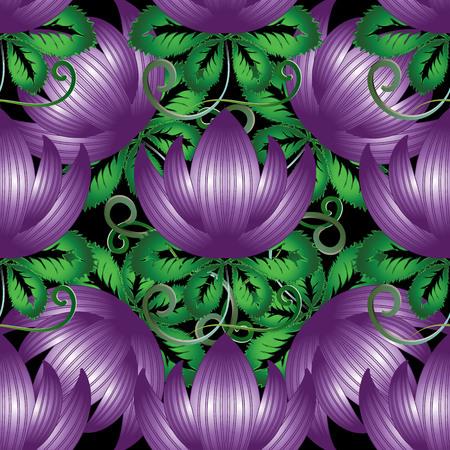 3d purple flowers seamless pattern.