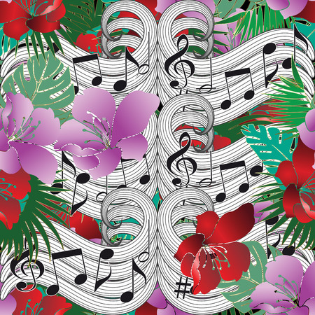 Music notes floral vector seamless pattern.