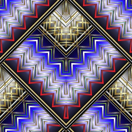Zigzag striped 3d seamless pattern.