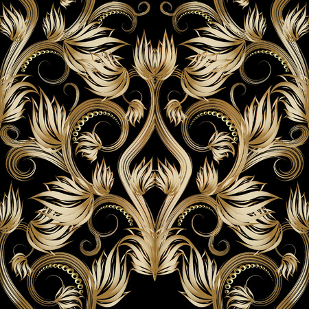 Beautiful gold 3d floral vector seamless pattern.