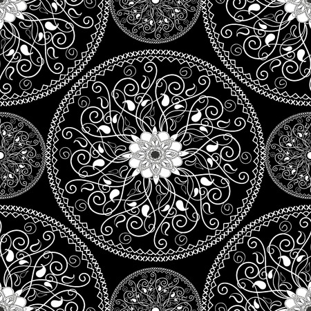 Elegance black and white paisley mandala seamless pattern. Vectores