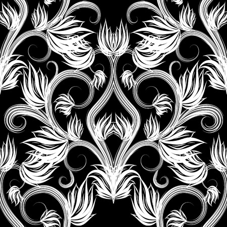 Beautiful black and white floral vector seamless pattern. Vectores