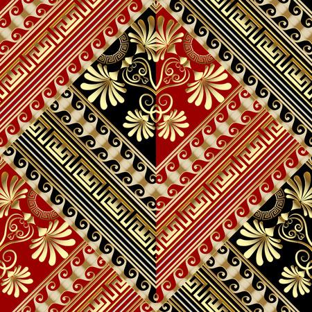 Floral striped greek key vector seamless pattern. Vettoriali