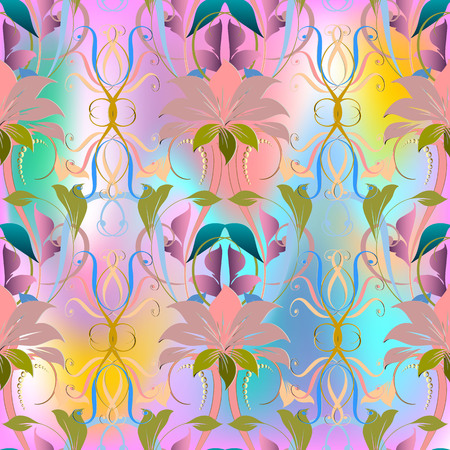 Colorful elegance floral vector seamless pattern.