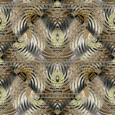 Modern geometric vector 3d seamless pattern. Abstract creative ornate greek background. Radial, spiral circles, geometry shapes, greek key, meanders ornament. Decorative gold striped textured design.