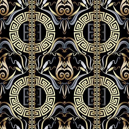 Modern floral greek vector seamless pattern.