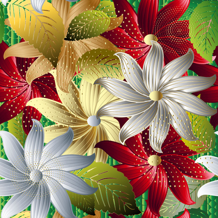 Colorful decorative floral 3d seamless pattern. Modern ornamental textured background. Flowery hand drawn ornaments. Bright beautiful abstract flowers, leaves, dots, halftone. Luxury ornate design Ilustração Vetorial