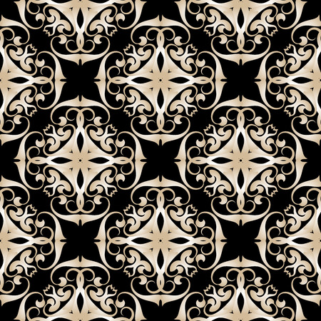 Abstract damask vector seamless pattern. Ornamental patterned arabesque background. Decorative vintage ornaments in baroque style. Beige design on the black background. Endless elegant texture.