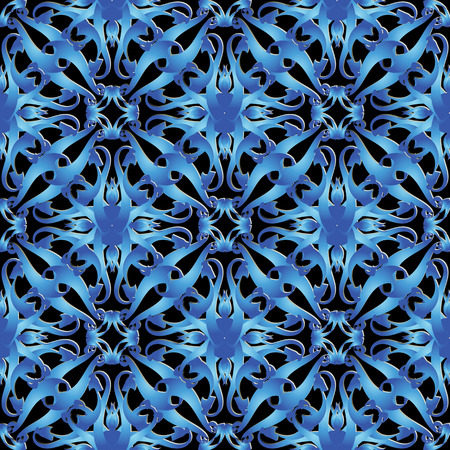 Ornate vintage vector 3d seamless pattern. Ornamental patterned abstract background. Blue beautiful floral damask ornaments. Decorative modern design. Surface texture. Arabesque line art tracers Vectores