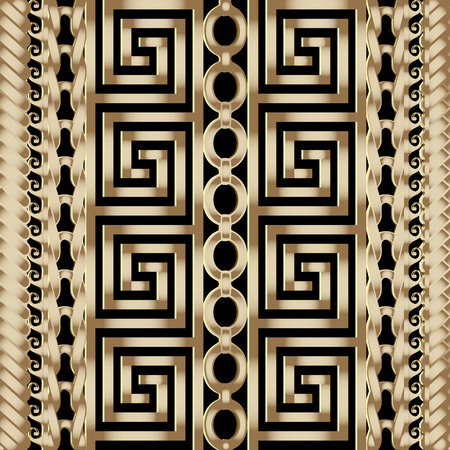 3d striped braided greek vector seamless borders pattern. 向量圖像