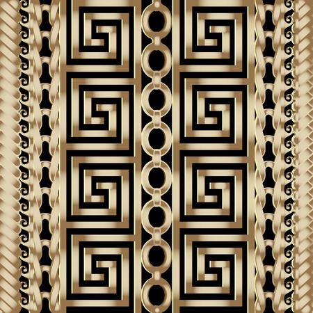 Patrón de fronteras sin costura de vector griego trenzado a rayas 3d