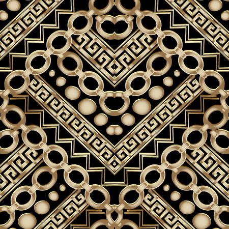 Ornate gold 3d geometric vector seamless pattern. Vettoriali
