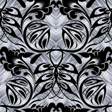 Elegant floral vector seamless pattern. Textured ornamental background. Decorative ethnic style russian flowers ornament. Black and white 3d design. Decorative texture. For wallpapers, fabric, prints