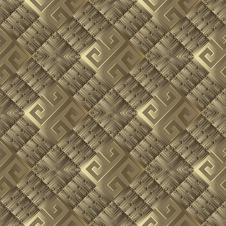 3d textured greek vector seamless pattern. Abstract gold greek key meanderbackground. Geometric ornament. Rhombus, squares, zigzag, geometry shapes, elements. Surface texture. Modern trendy design