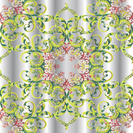 Vintage floral 3d Damask seamless pattern. Drapery silver vector background. Antique Baroque Victorian style colorful ornament with red flowers, green leaves, swirls. Decorative elegance ornate design