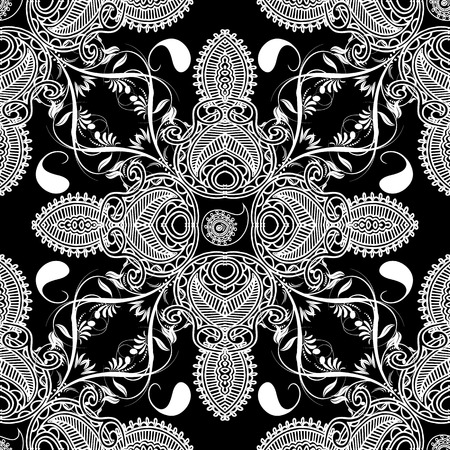 Paisley floral vector seamles pattern. Ornamental black and white patterned background. Vintage line art tracery elegance ornaments. Abstract decorative beautiful design. For fabric, prints, textile