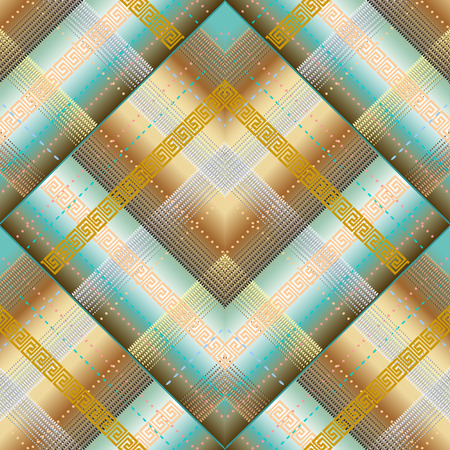 Vector geometric striped greek 3d seamless pattern. Abstract ornamental textured background. Elegant decorative patterned design in tartan style. Tiled greek key meander ornaments with stripes, shapes