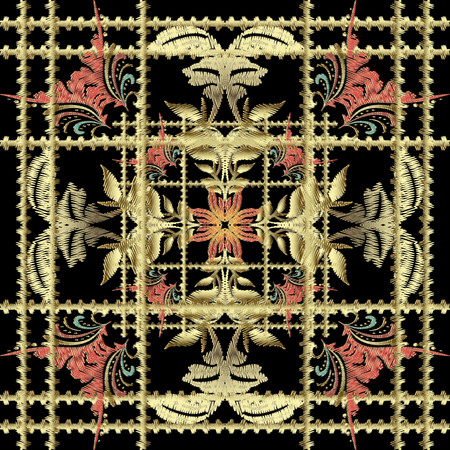 Striped embroidery 3d Baroque seamless pattern. Vecteurs