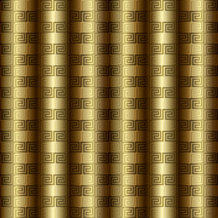 Gold 3d greek key meander vector seamless pattern.