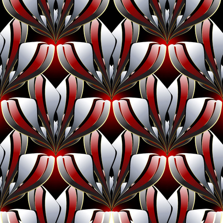 Abstract modern floral vector seamless pattern. Ornamental decorative beautiful background. Geometric style ornaments with black white red interesting flowers, shapes. Elegant ornate design