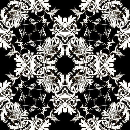 Damask Baroque black and white floral vector seamless pattern. Elegance ornamental monochrome vintage background. Antique Victorian style ornaments with old flowers, scroll leaves. Isolated design