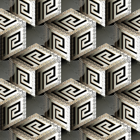 Isometric 3d cubes greek vector seamless pattern. Çizim