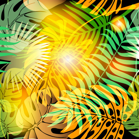 Autumn palm leaves abstract vector seamless pattern. Green yellow exotic plants background. Decorative ornamental floral design. Tropical plants ornament with glowing shiny effects. Endless texture