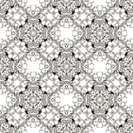 Baroque black and white vector seamless pattern. Damask floral background. Monochrome isolated template. Ornate decorative antique baroque ornament in Victorian style. Old flowers, scroll leaves, lace