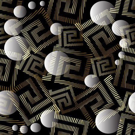 Geometric abstract 3d greek key meander vector seamless pattern. Ornamental creative geometry background. Grunge gold meanders, surface transparent 3d circles, spheres, shapes. Trendy ornaments.