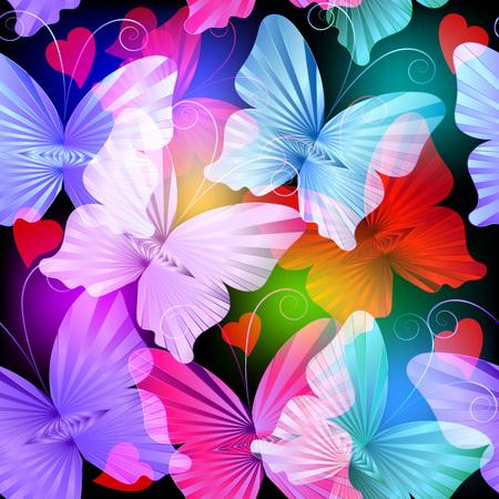 Coloridas mariposas radiales brillantes vector de patrones sin fisuras. Fondo brillante multicolor brillante abstracto. Volando mariposas transparentes. Hermoso diseño decorativo de corazones de amor. Para tarjetas, envoltura