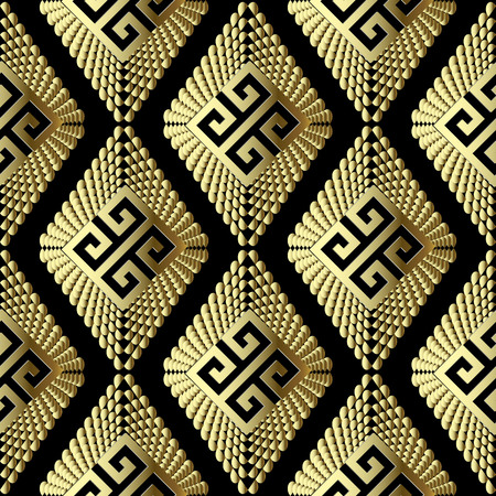 Gold geometric 3d greek vector seamless pattern. Ornamental textured geometry background. Tiled patterned surface rhombus with dots and half tone effect. Ornate greek key meander ancient ornaments Vettoriali