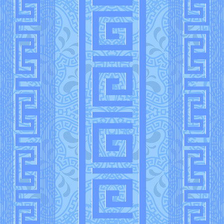 Greek ornamental light blue vector seamless pattern. Abstract geometric patterned background. Striped tribal ornaments with vertical greek key meander borders, stripes, lines, paisley flowers Illustration