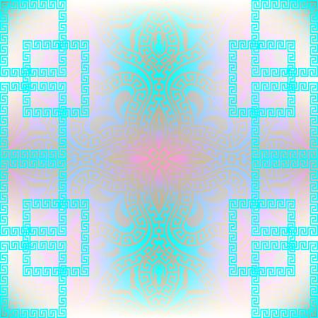 Blue pink elegance ornamental greek vector seamless pattern. Modern geometric abstract background. Floral backdrop. Geometrical greek key meander borders, squares, rectangles. Glowing paisley ornament