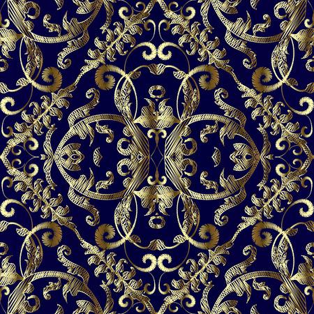 Modèle sans couture de vecteur baroque or brodé vintage. Fond texturé floral tapisserie. Ornements de damassé de broderie dessinés à la main d'or antique. Fleurs dorées grunge, feuilles, tourbillons, volutes.