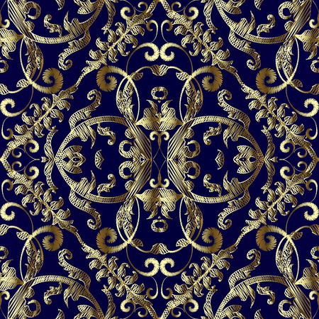Vintage embroidered gold Baroque vector seamless pattern. Tapestry floral textured background. Antique golden hand drawn embroidery Damask ornaments. Grunge golden flowers, leaves, swirls, scrolls.