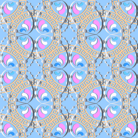 Elegance abstract greek key meander vector seamless pattern. Light blue ornamental geometric background with floral ornaments. Dotted line ornate design. Vintage flowers, leaves, dots, circles, swirls Illustration