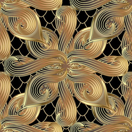Gold abstract floral 3d vector seamless pattern. Ornamental grid lattice snake skin stye background. Modern decorative rich ornament with hand drawn striped intricate flowers. Surface ornate texture. Illustration