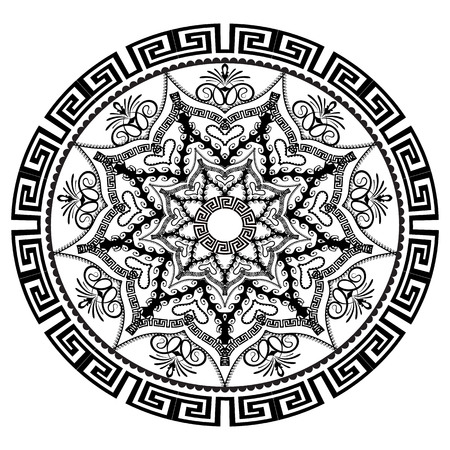 Black and white round floral greek vector mandala pattern. Ancient  ornamental abstract background. Geometric shapes and elements. Decorative ornate design in arabian style. Elegance lace ornaments.